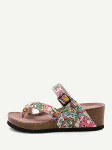 Sandales à talons compensés imprimé fleuri