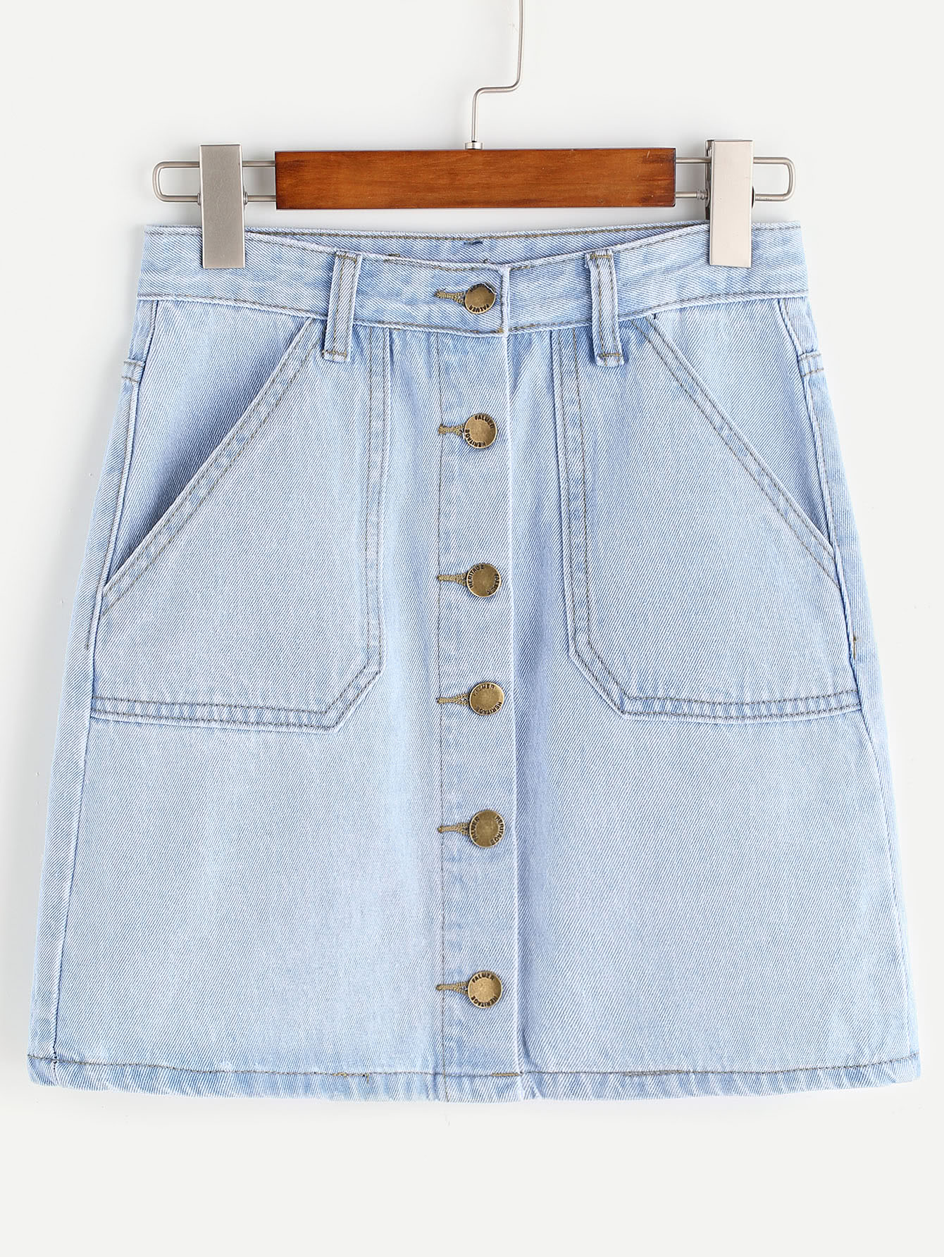 Купить со скидкой Single Breasted Pockets Denim Skirt
