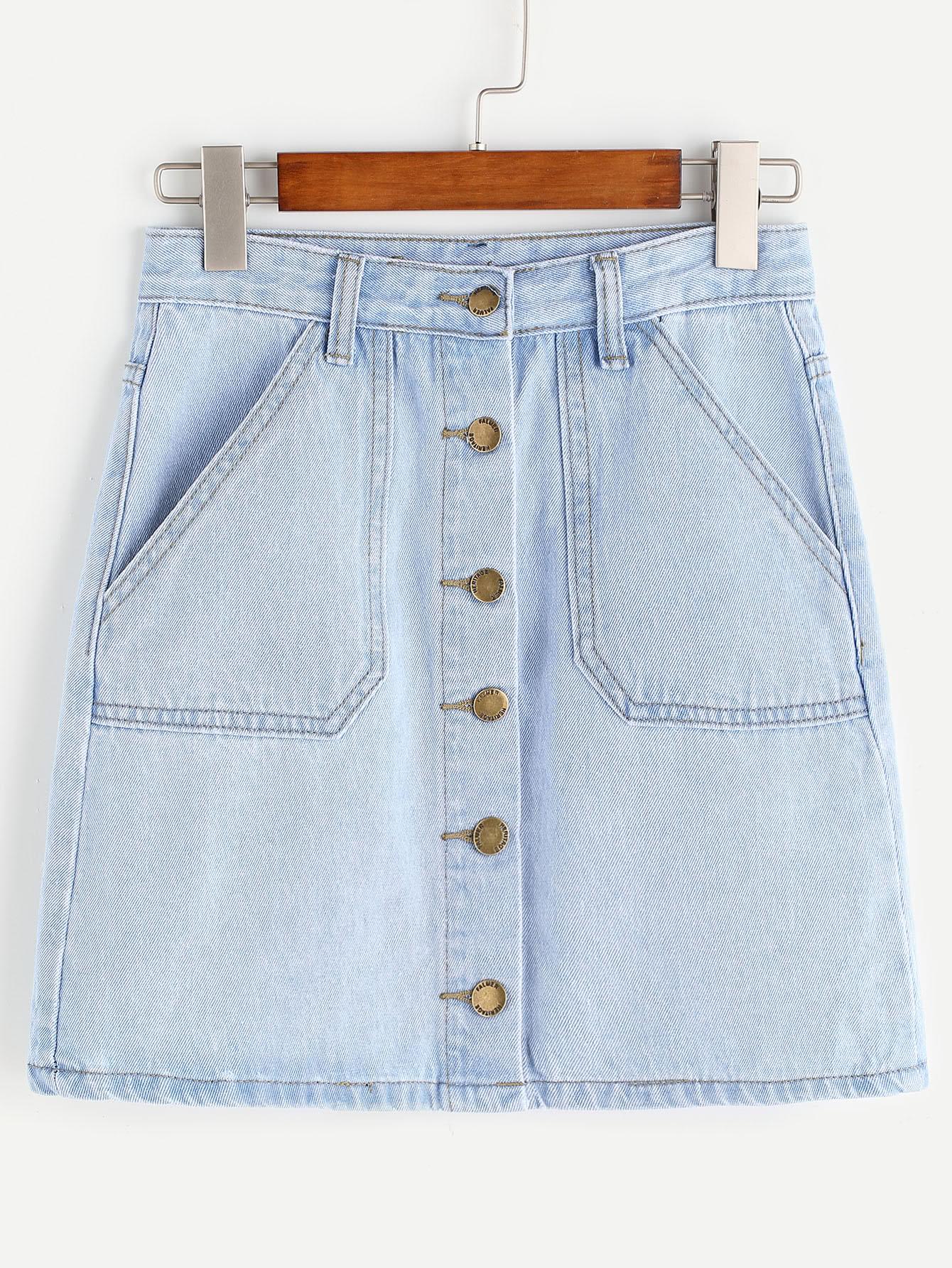 Single Breasted Pockets Denim Skirt