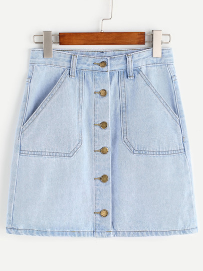 Single Breasted Pockets Denim Skirt