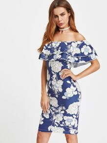 Floral Print Layered Ruffle Off Shoulder Dress