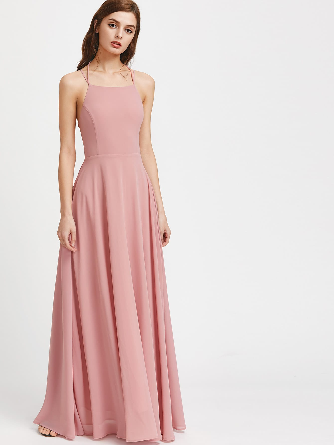 Double Strap Lace Up Back Maxi Dress