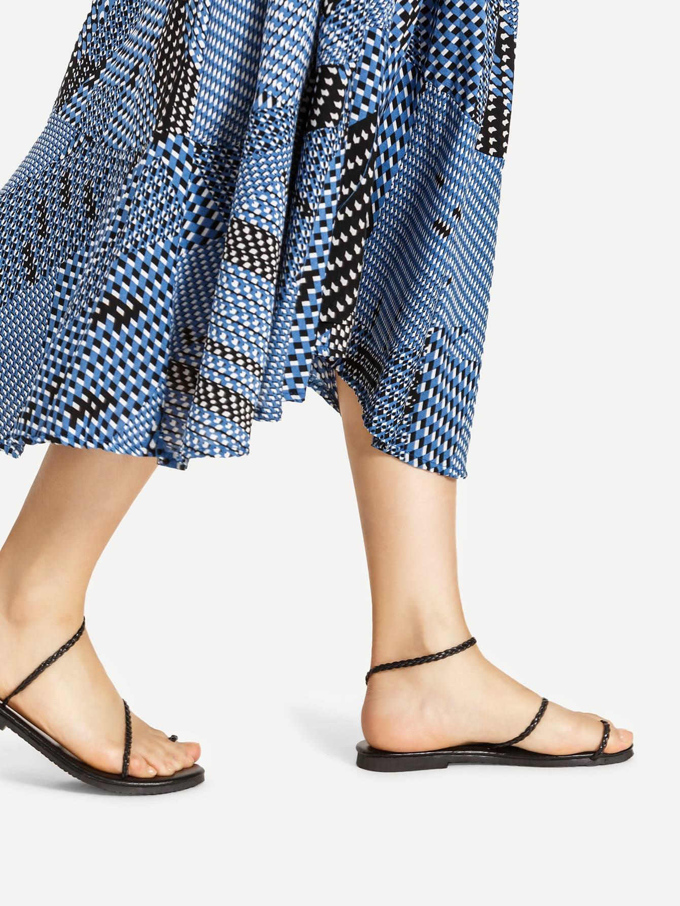 Фото Braided Strap Toe Ring Flat Sandals. Купить с доставкой