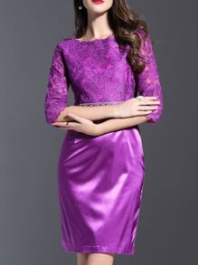 Purple Gauze Embroidered Sheath Combo Dress