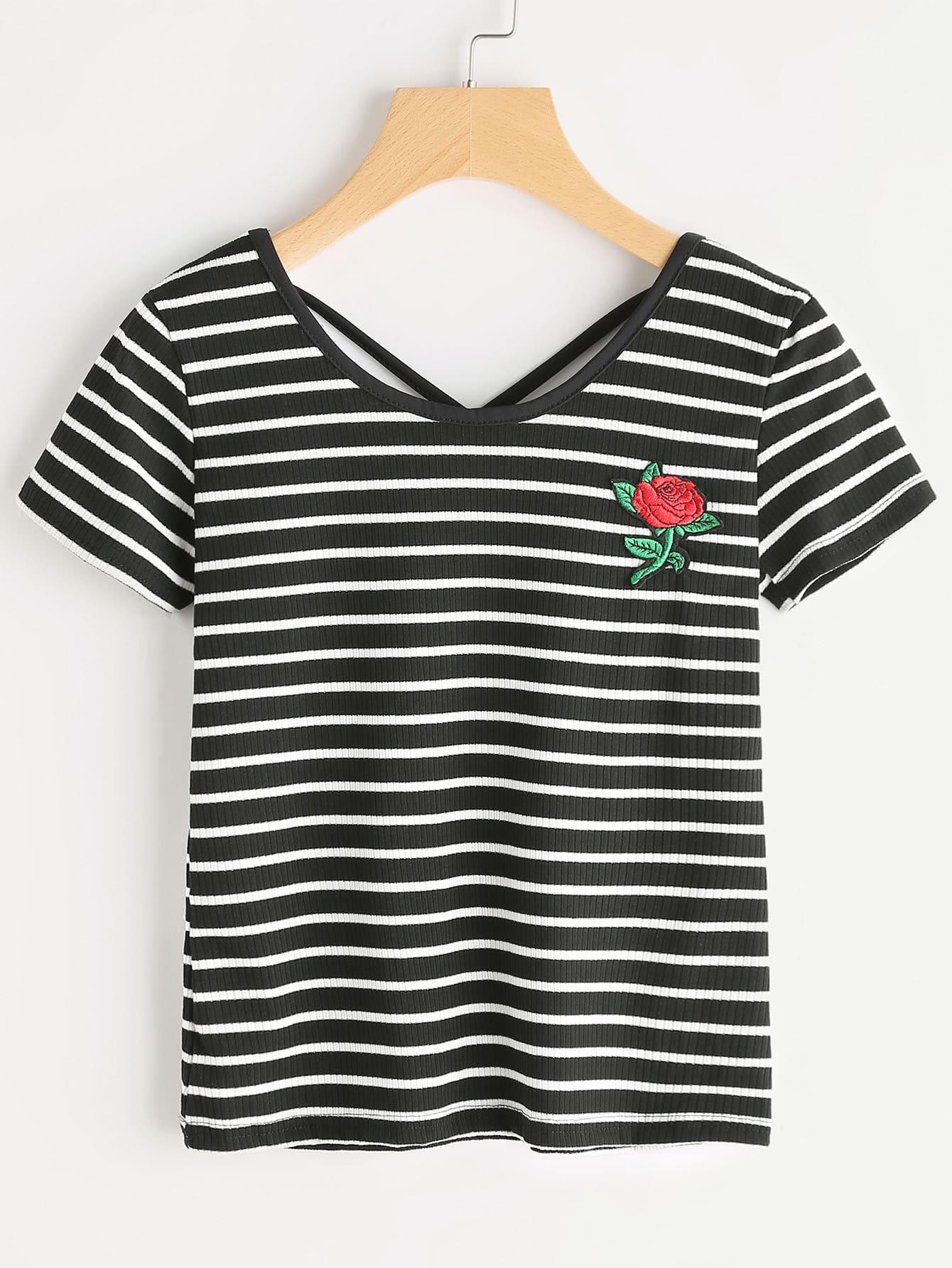 Striped Rose Patch Criss Cross Back Tshirt striped longline tshirt