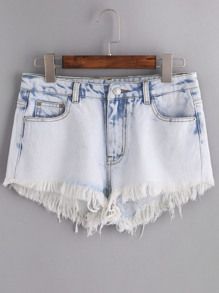 Shorts skinny en denim - azul
