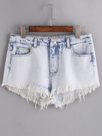 Cloud Wash Frayed Denim Shorts