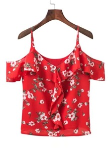 Cold Shoulder Floral Ruffle Top