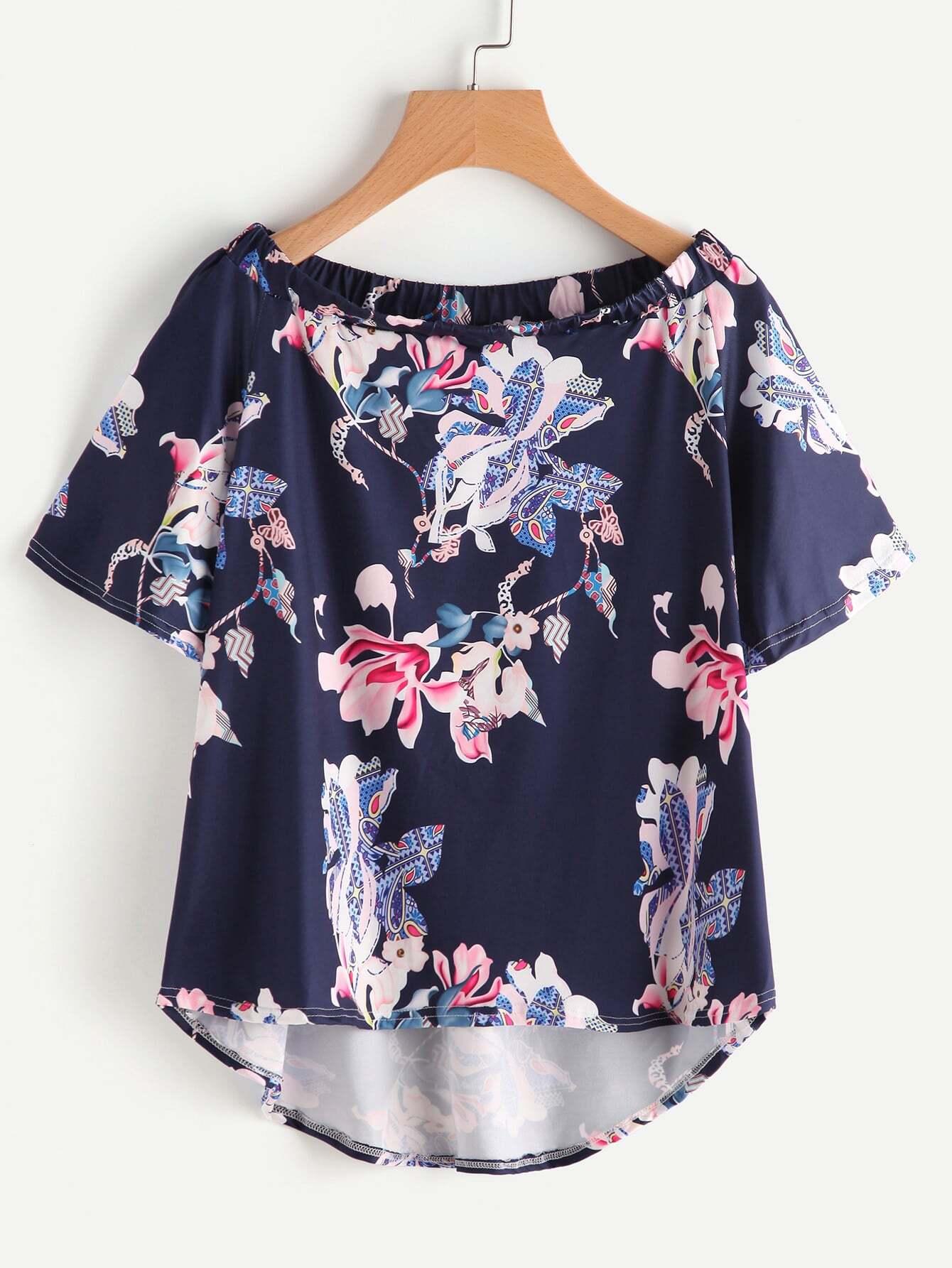 Boat Neckline Floral Print Dip Hem Top boho print dip hem chiffon top