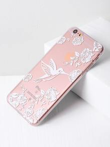 Bird And Flower Print Clear iPhone 6 Plus/6s Plus Case