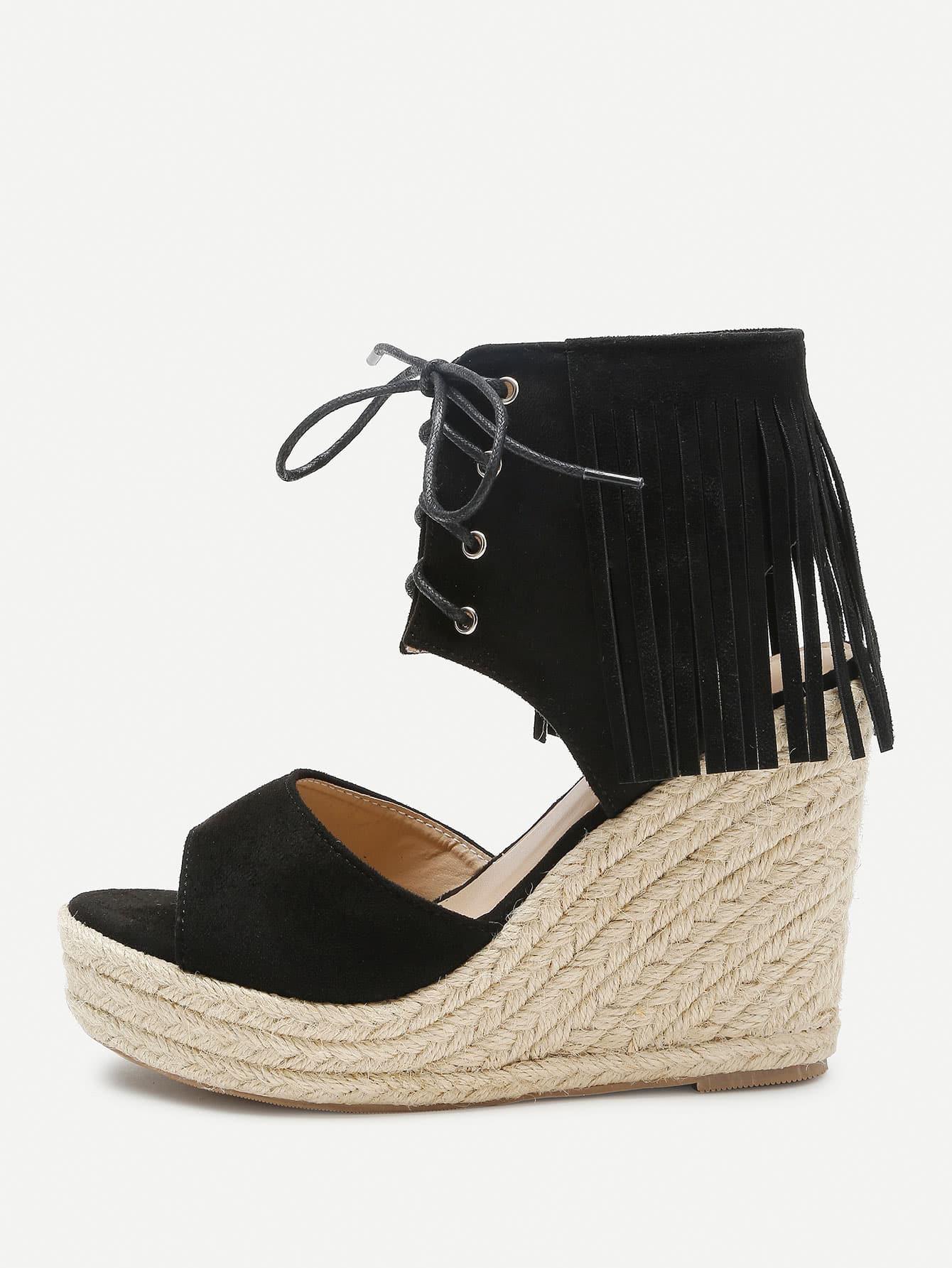 Фото Fringe Design Lace Up Wedge Sandals. Купить с доставкой