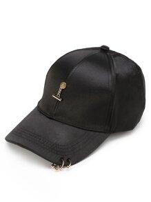 Metal Detail Satin Baseball Cap