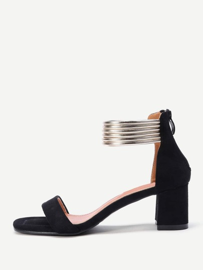 Metallic Ankle Cuff Block Heeled Sandals