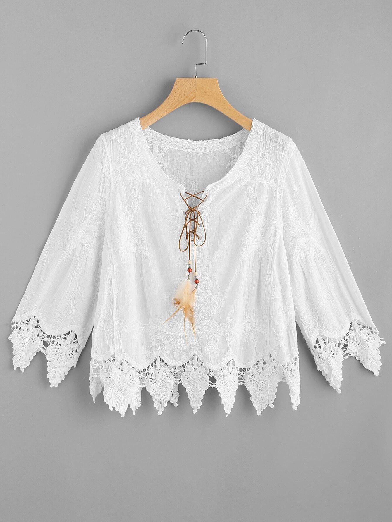 Фото Feather Lace Up Embroidered Crochet Hem Top. Купить с доставкой