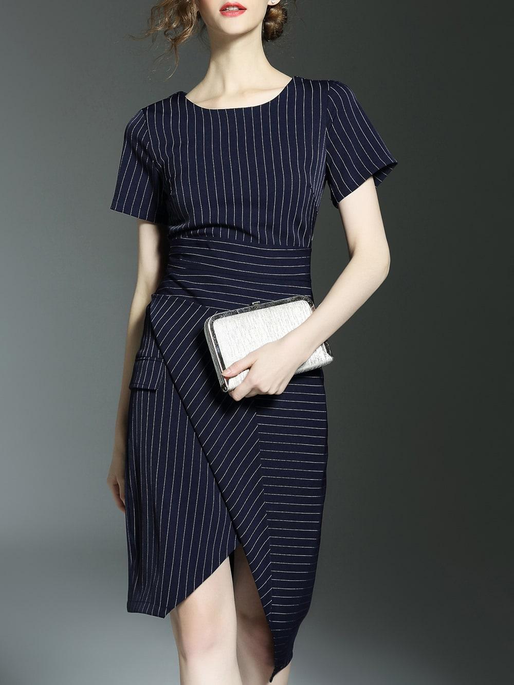 Фото Navy Crew Neck Striped Asymmetric Dress. Купить с доставкой