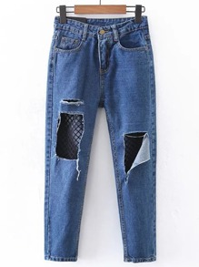 Contrast Mesh Ripped Detail Jeans