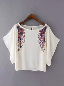 Batwing Sleeve Keyhole Back Top With Sequin Detail