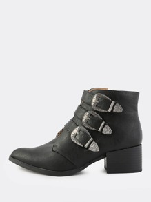 Western Three Buckle Booties BLACK