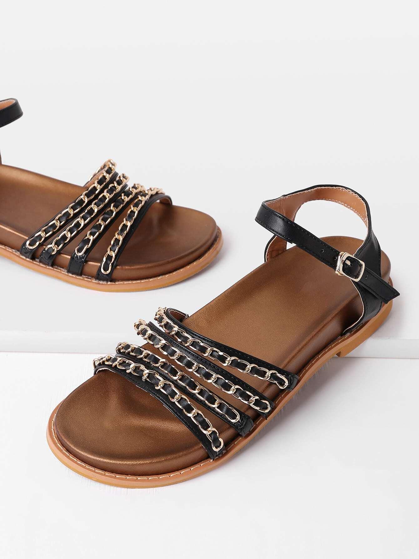Фото Chain Decorated Strappy PU Sandals. Купить с доставкой