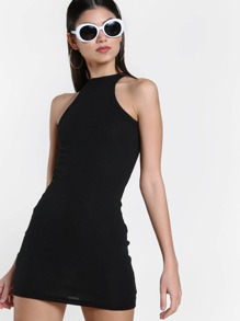 Rib Knit Racer Bodycon Dress