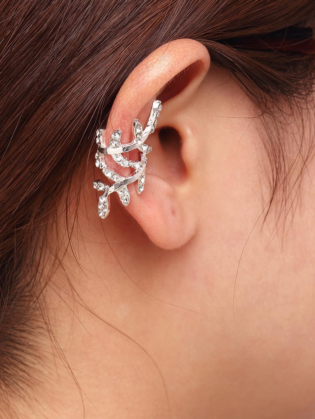 Rhinestone Leaf Shaped Ear Cuff 1Pcs one piece stylish women s rhinestone cross ear cuff