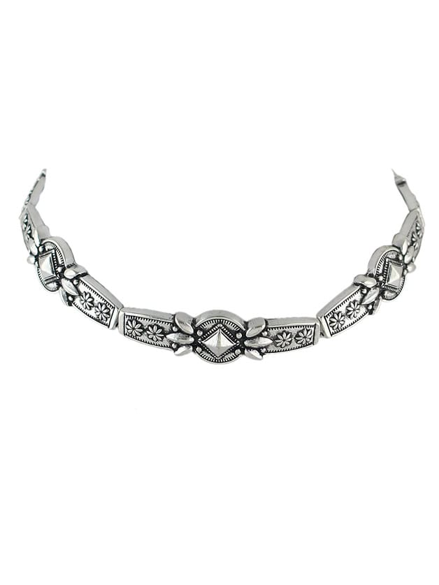 Silver Metal Flower Tattoo Choker Necklaces