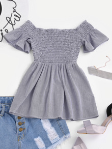 Smocked Bodice Bell Sleeve Striped Top