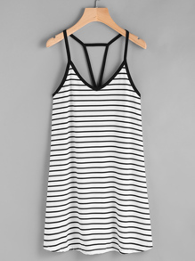 Cutout Strappy Racerback Striped Cami Dress