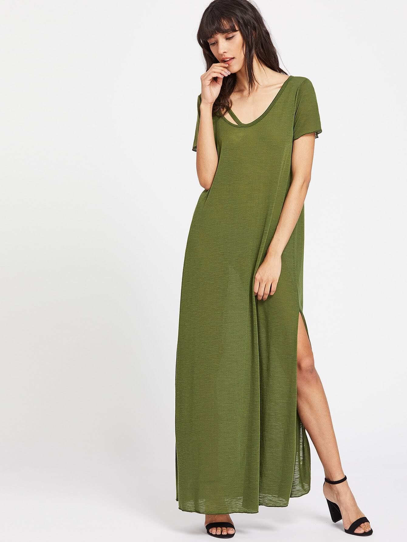 Фото Strappy Scoop Neck Cutout Side Slit Tee Dress. Купить с доставкой
