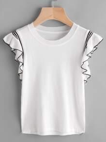 T-shirt in maglia con voalnt