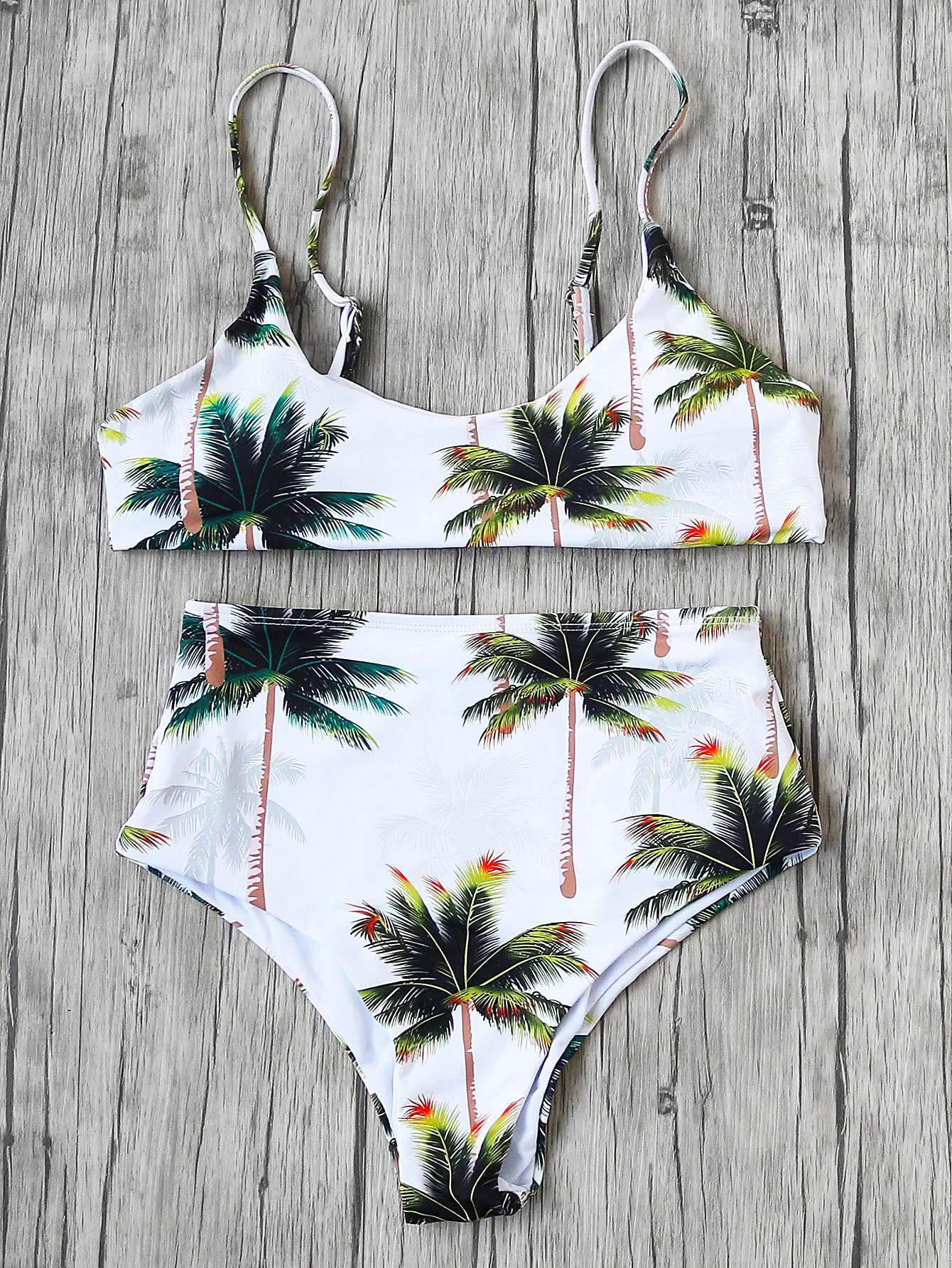 Фото Palm Tree High Waist Bikini Set. Купить с доставкой