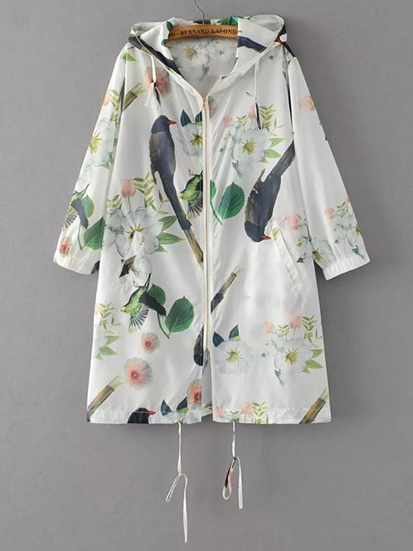 Фото Drawstring Hooded Long Coat With Pockets. Купить с доставкой
