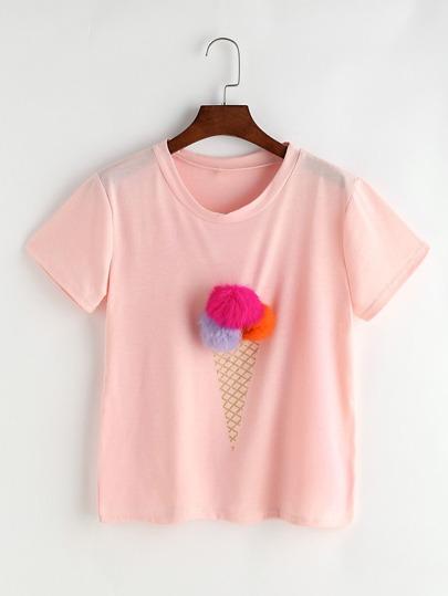 Ice Cream Print Pom Pom T-shirt
