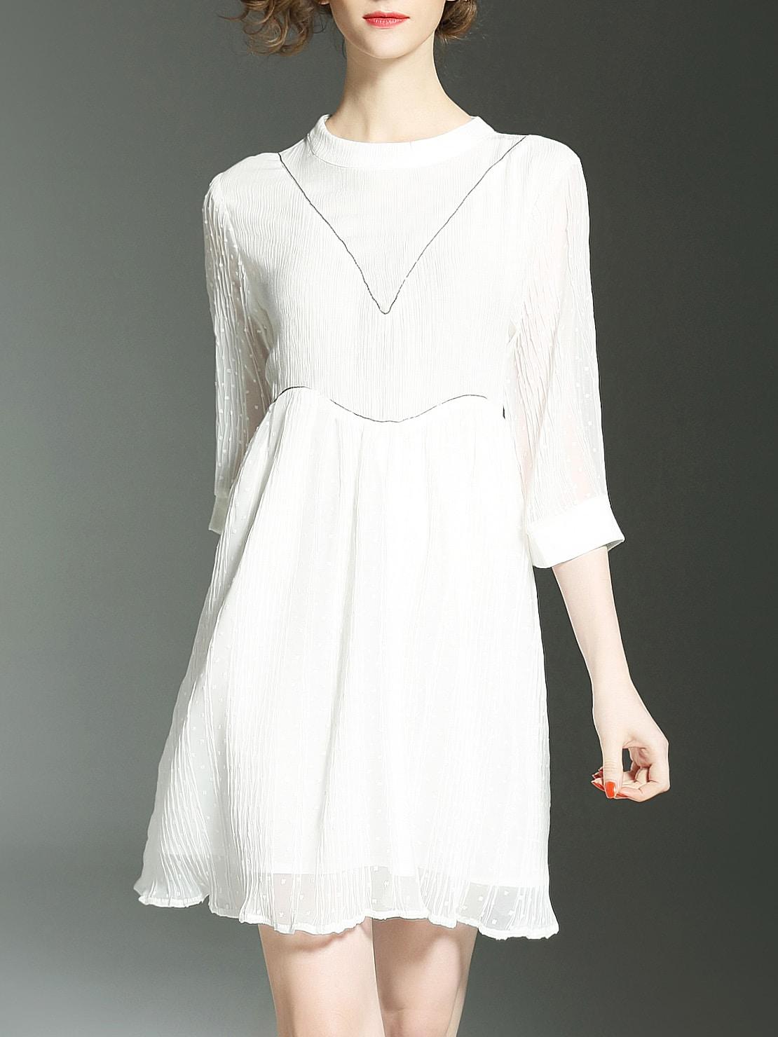 Фото White Pleated Hollow A-Line Dress. Купить с доставкой