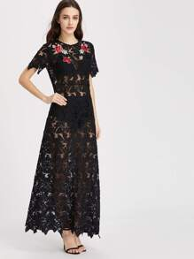 Embroidered Rose Applique Floral Lace Dress