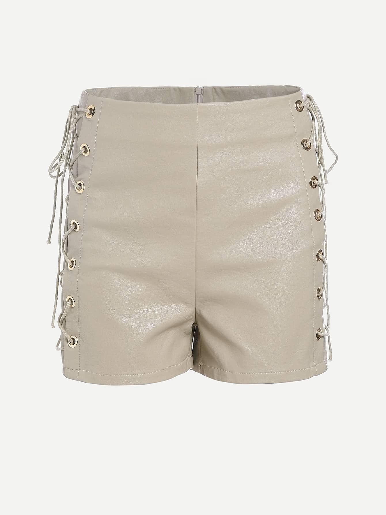 Фото High Waist Eyelet Lace Up Side Shorts. Купить с доставкой