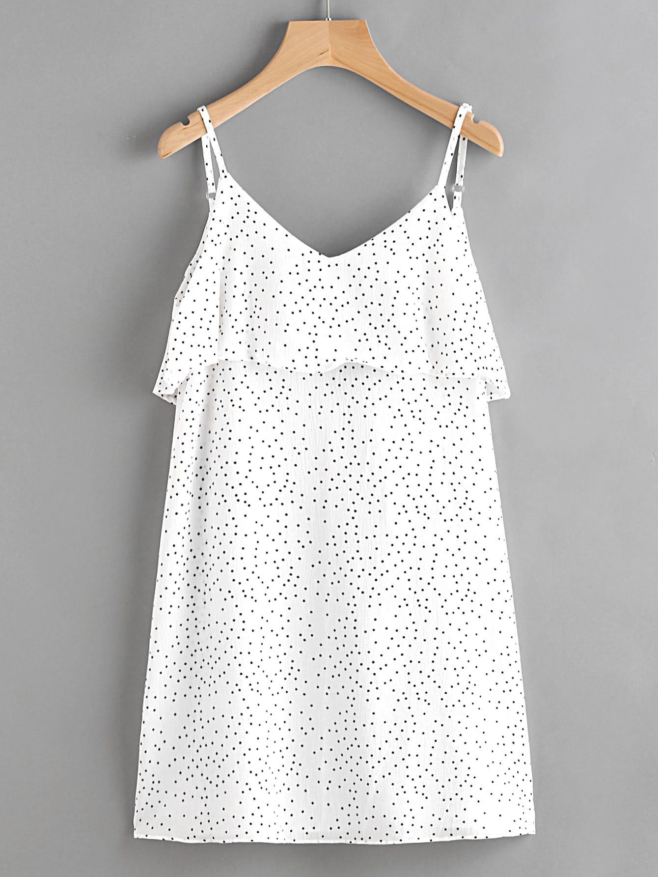 Фото Textured Dots Open V Back Layered Cami Dress. Купить с доставкой