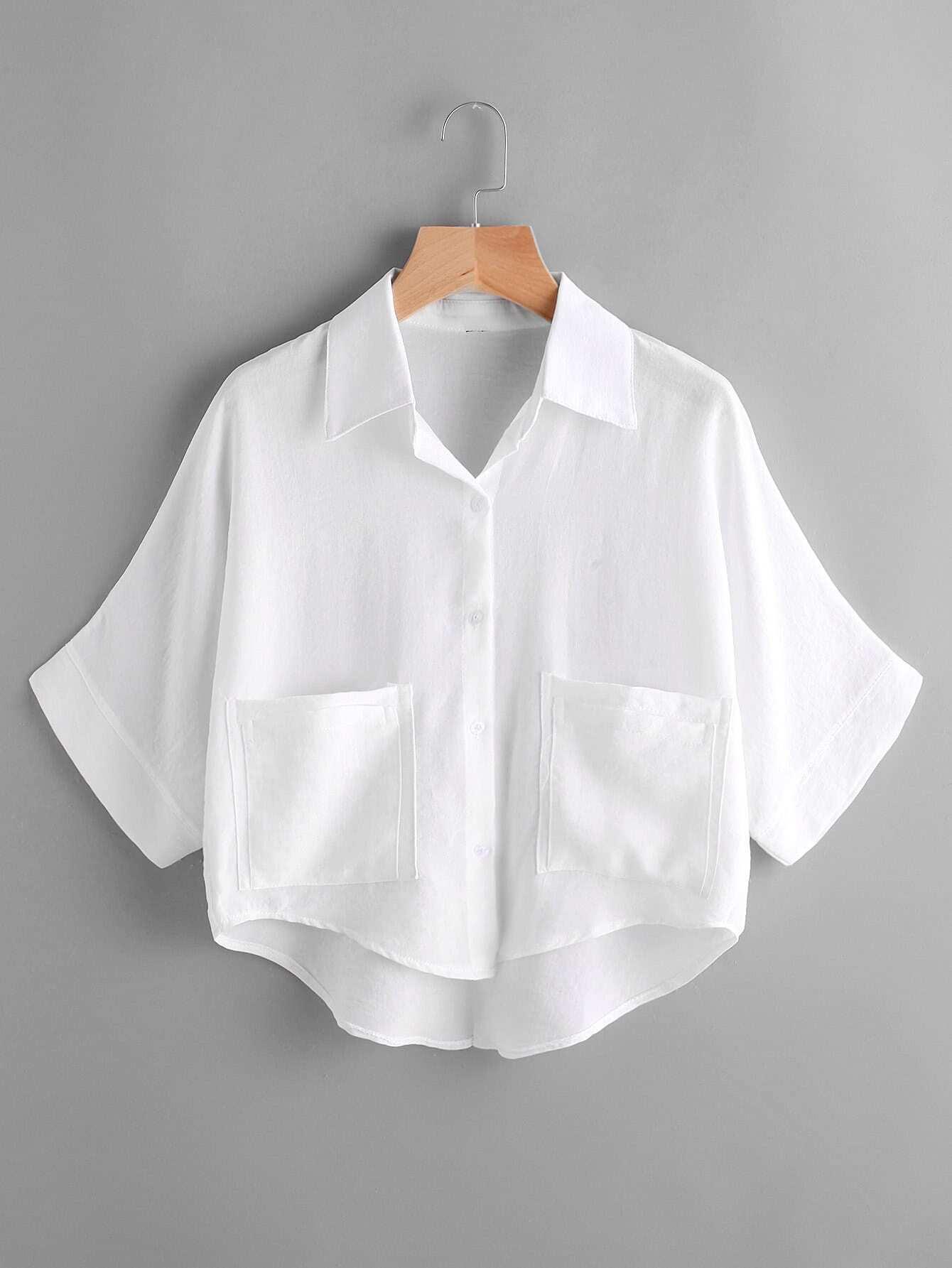 Dip Hem Dual Pockets Front Shirt all over florals dip hem shirt