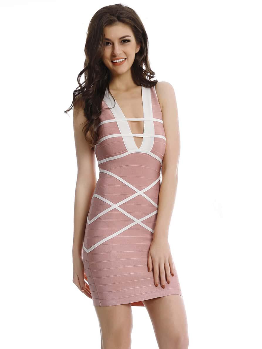 Фото Contrast Binding Detail Plunging Bandage Dress. Купить с доставкой