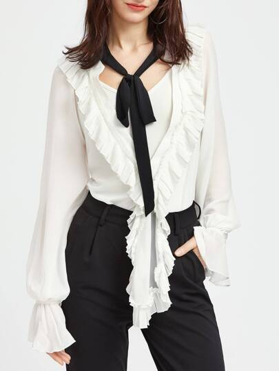 White Deep V Neck Ruffle Blouse With Cami