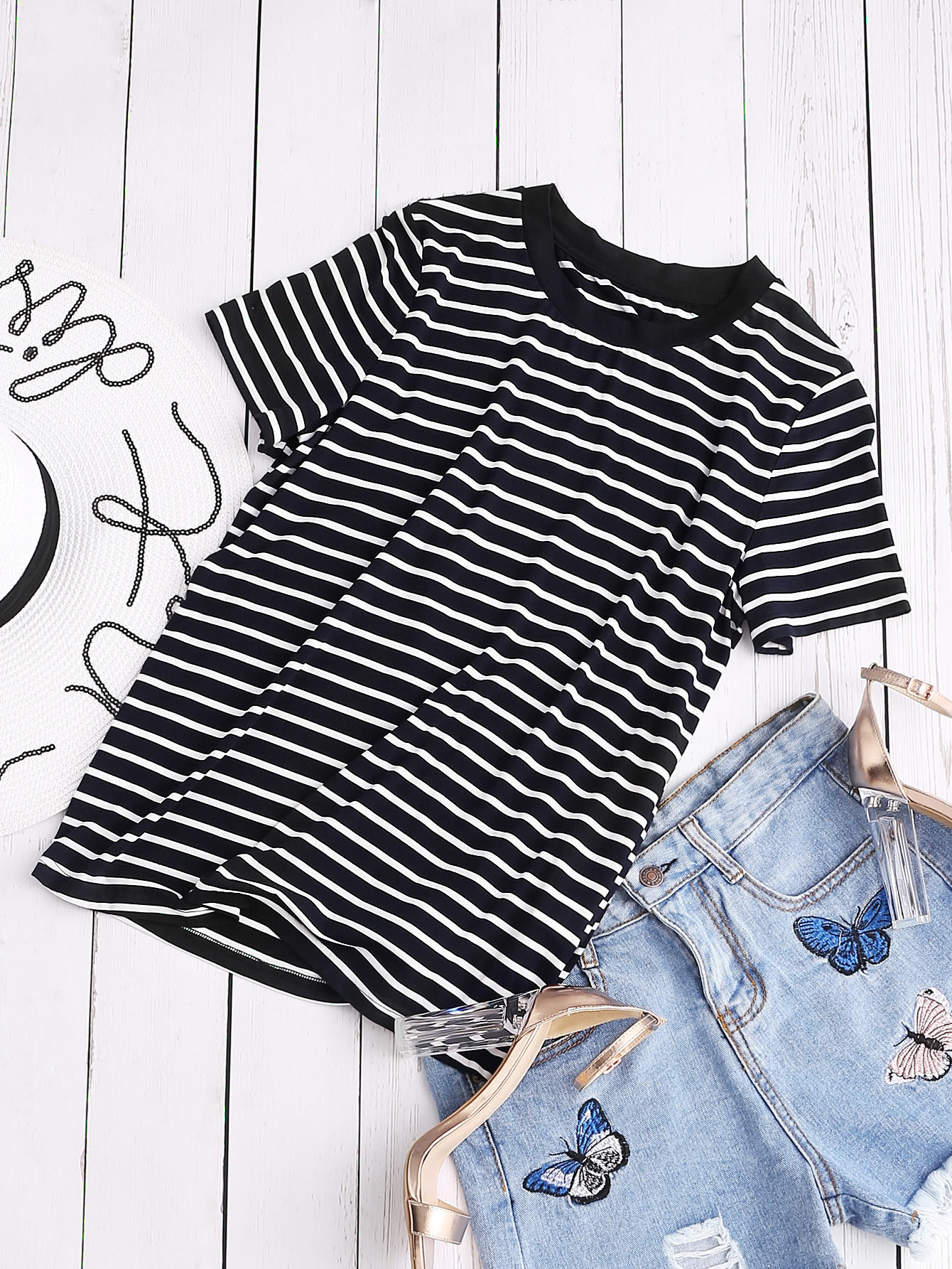 Ribbed Neck Striped Tee tee170413701