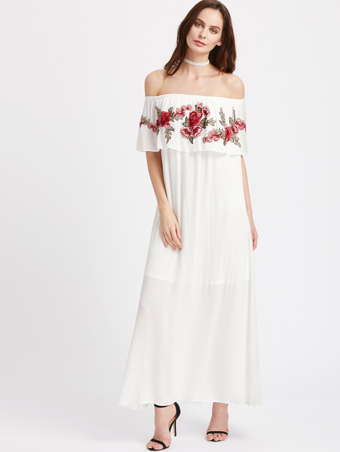 Embroidered Patch Detail Flounce Off Shoulder Crinkle Dress серьги polina selezneva серьги ps by polina selezneva