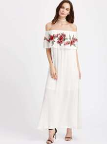 Embroidered Patch Detail Flounce Off Shoulder Crinkle Dress