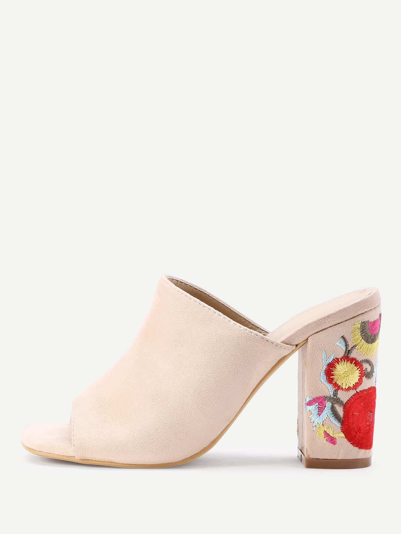 Фото Peep Toe Flower Heeled Mules. Купить с доставкой