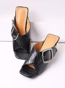 Sandales à talons hauts imprimé de crocodile avec lacets et boucles