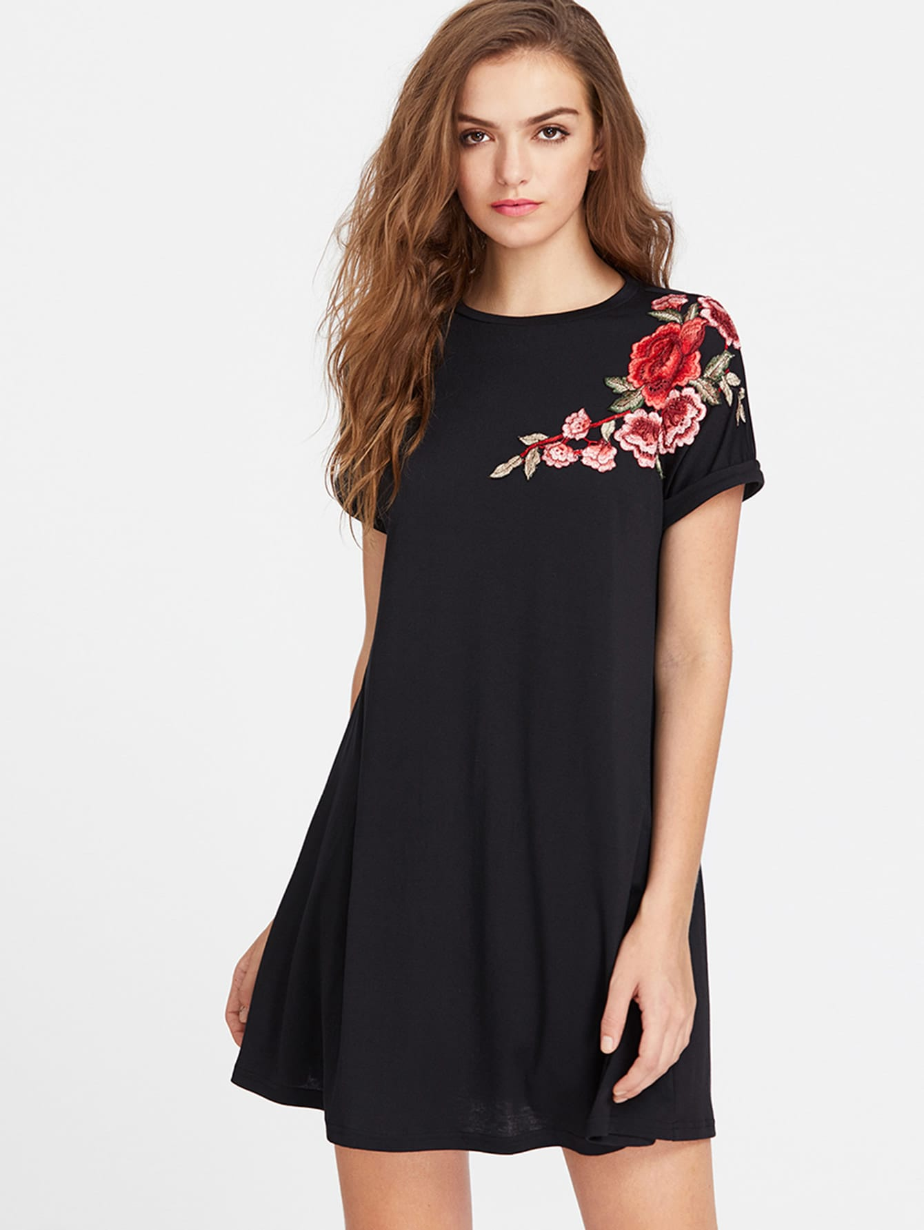 Embroidered Flower Patch Roll Cuff Swing Tee Dress flower patch full length tee dress