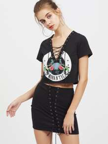 Eyelet Lace Up V Neck Tee With Skirt