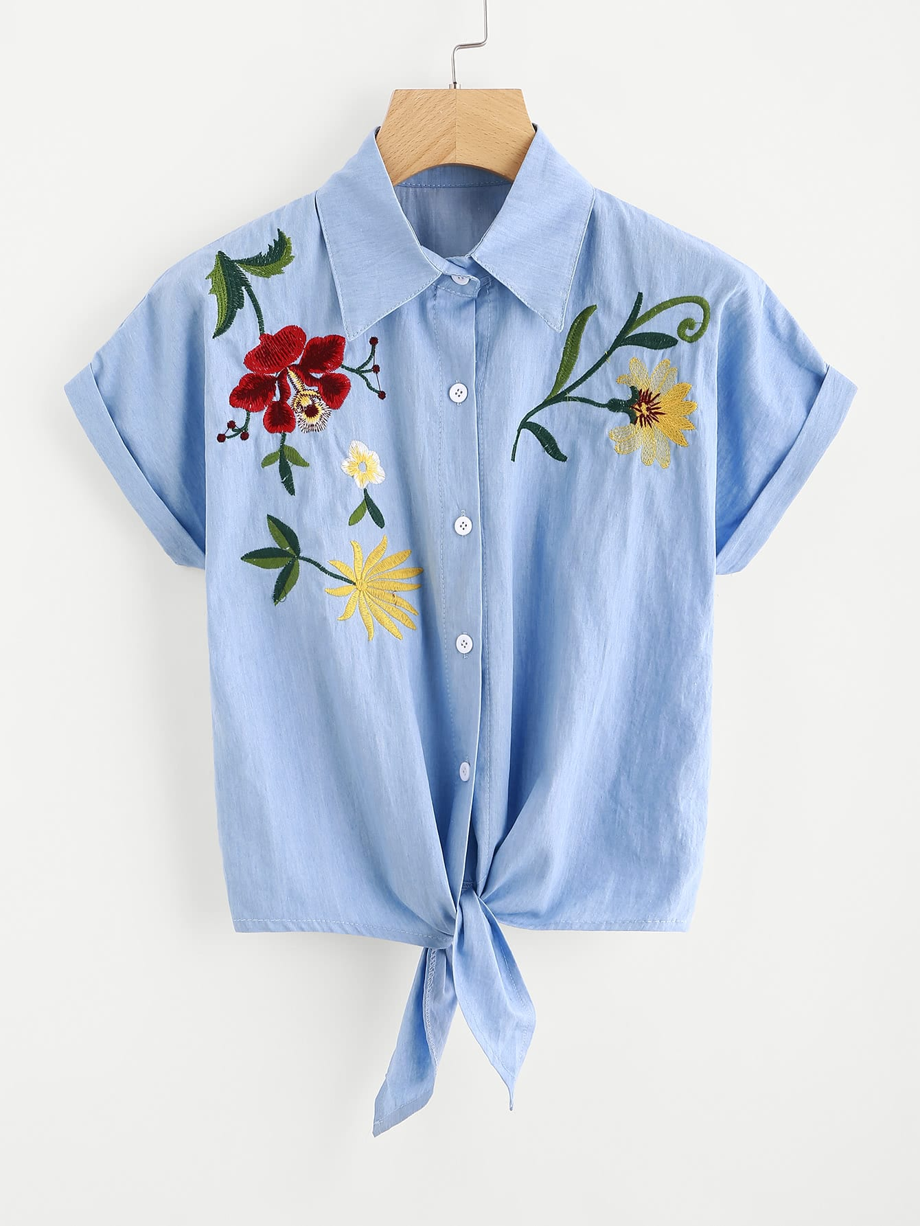 Tie Front Flower Embroidered Denim Shirt thumbnail