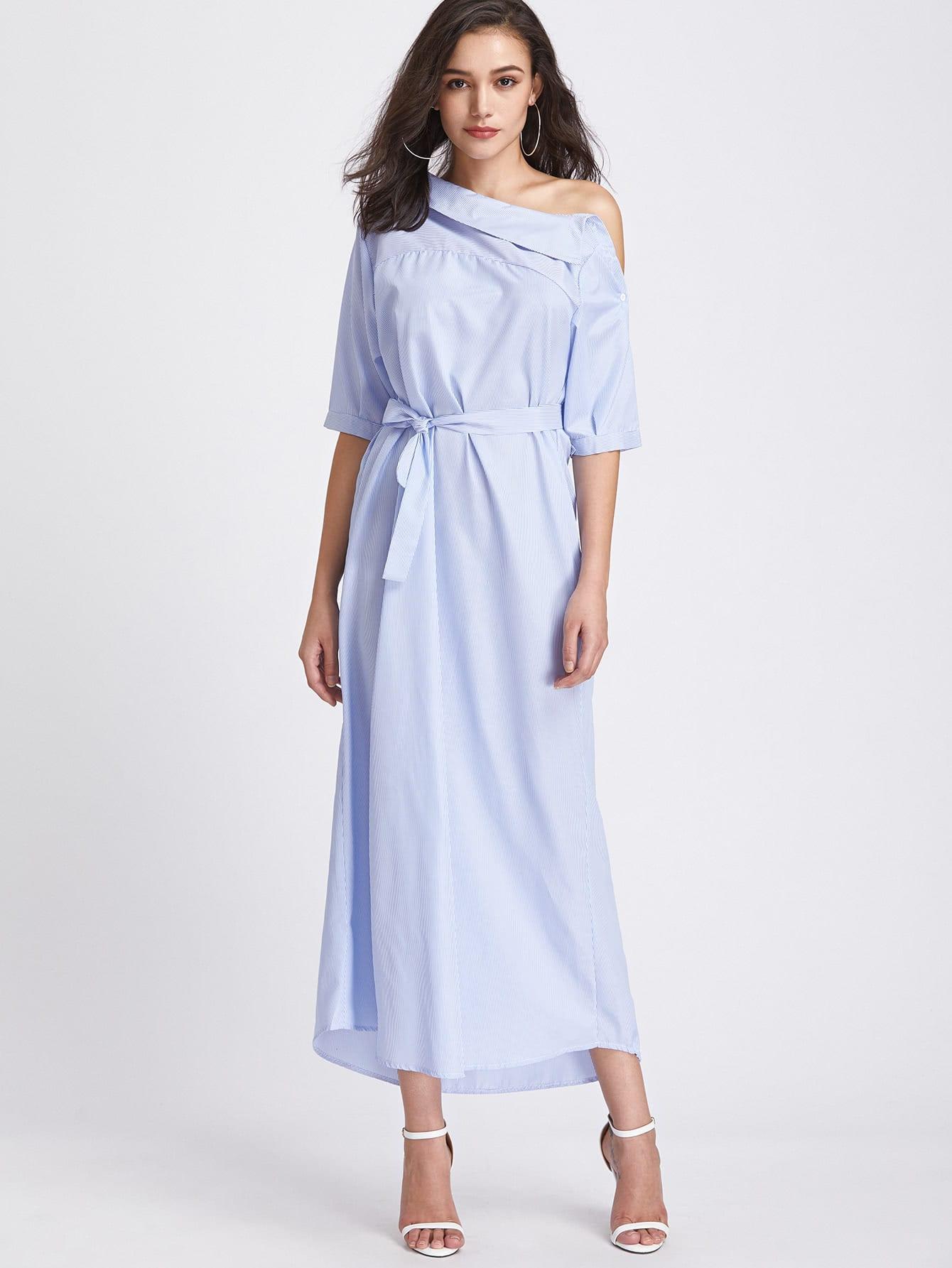 Pinstripe Asymmetrical Off Shoulder Self Tie Dress sweetheart off shoulder asymmetrical bodycon dress