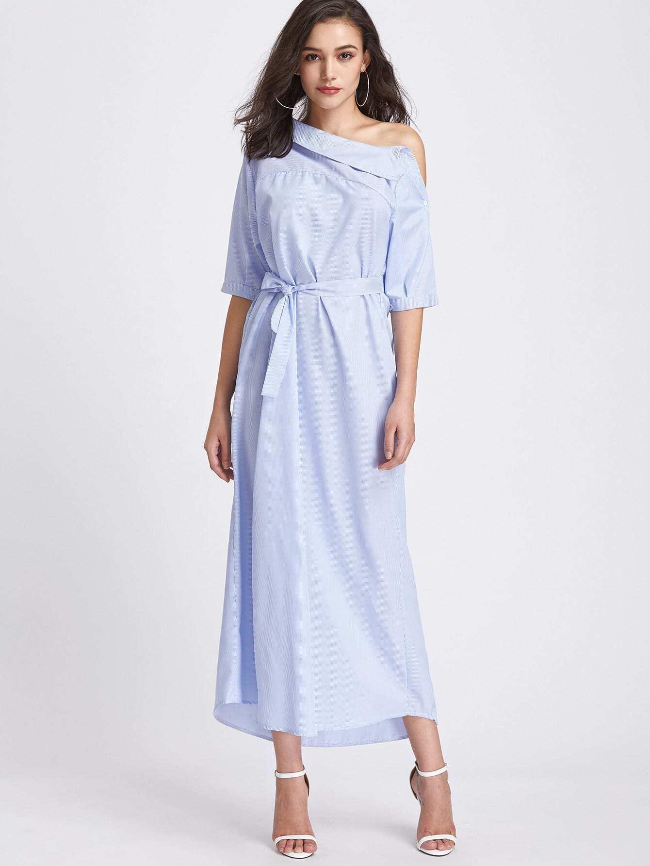 Pinstripe Asymmetrical Off Shoulder Self Tie Dress